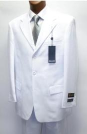 Mens Three Buttons White Suit