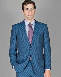 Mens Two Buttons Blue Suit