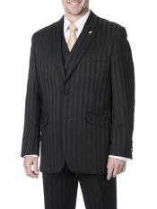 Single Breasted Black Vest Suit