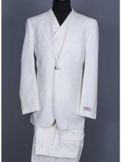 Single Button Off White Suit