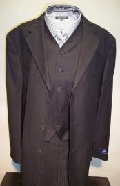 Three Buttons Black Vested Suit