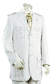 Mens White Safari Suit