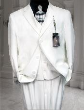 Three Buttons White Suit