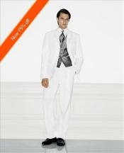 Three Buttons White Wedding Suit