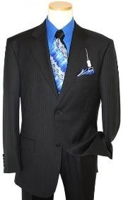 Two Button Black Pinstripe Suit