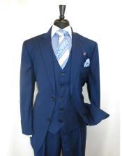 Two Button Blue Vested Suit