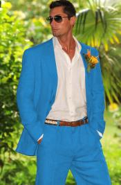 Two Button French Blue Suit