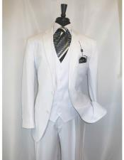 Two Button White Vested Suit