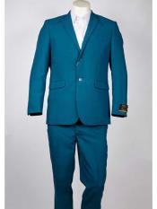 Two Buttons Aqua Color Suit
