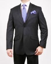 Two Buttons Black Pinstripe Suit