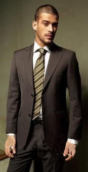 Two Buttons Brown Pinstripe Suit