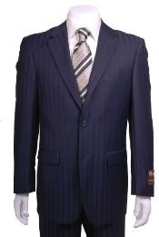Two Buttons Navy Blue Suit