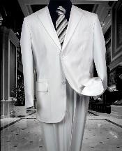 Two Button White Wool Suit