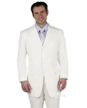 Two Buttons White Wool Suit