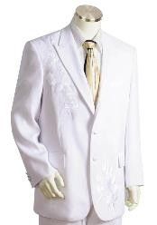 Three Button Off White Suit