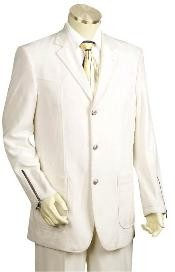 Mens White Button Suit