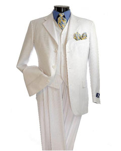 White Two Buttons Vested Suit