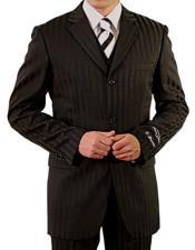 Mens Black Three Button Suit
