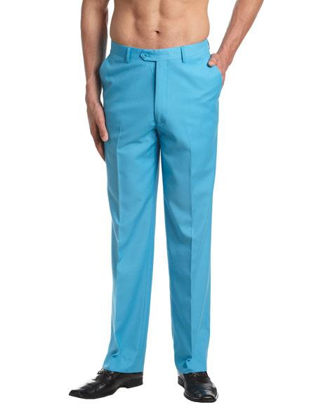 Zip And Clasp Closure Turquoise Dress Pants