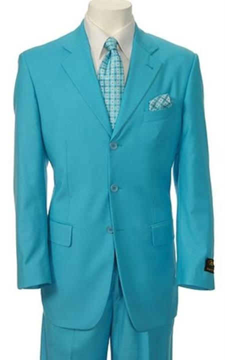 Turquoise Color Two Buttons Suit
