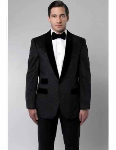 New Vintage Tuxedos, Tailcoats, Morning Suits, Dinner Jackets Poly Rayon Suit 2 Button Black Shawl Collar Retro Cross Weave Slim Fit $140.00 AT vintagedancer.com