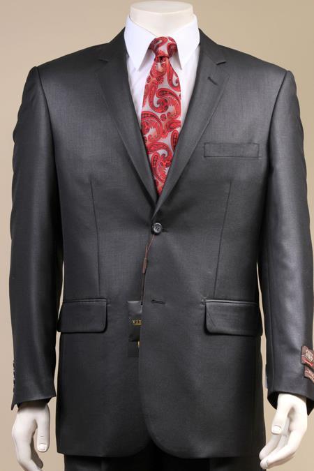 Two Button Black Shiny Suit