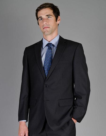 Two Button Black Stripe Suits
