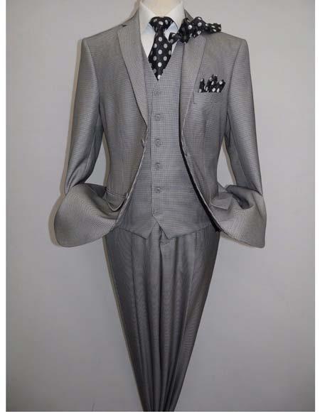 Two Button Black White Suit