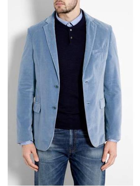 Two Button Sky Blue Light Blue Baby Blue Velvet Blazer