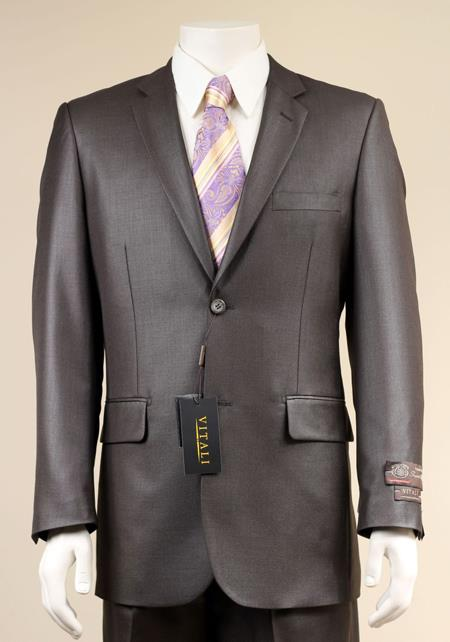 Two Button Brown Shiny Suit