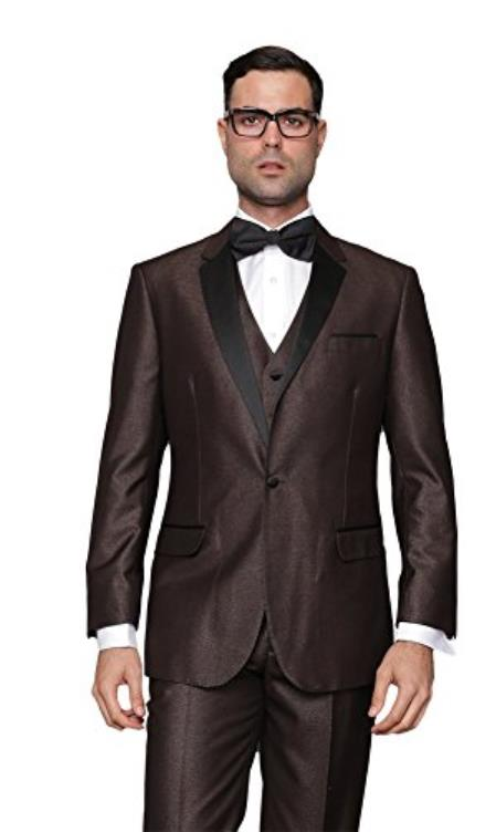 Two Button Brown Vested Tuxedo