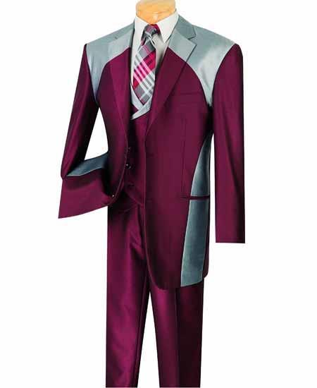 Two Button Burgundy Color Suit
