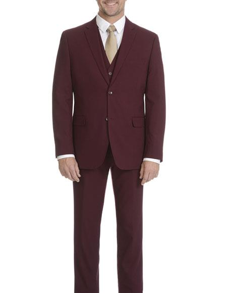 Wedding Burgundy Prom Slim Fit 3 ~ Three Piece 2 Button Vested Cheap Discounted Caravelli Collezione Suit - Caravelli Suit - Caravelli Italy