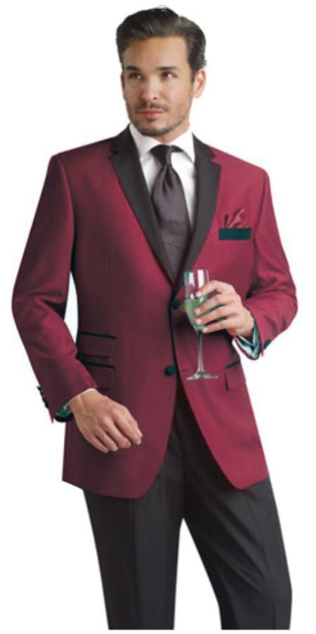 Wedding Burgundy Prom Outfit Maroon Wine Color Two Button Notch Party Wedding Groomsmen Tuxedo & Sportcoat Jacket Suit W/ Dark color black Collared + Free Pants Dinner Jacket