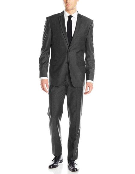 Dark Charcoal Grey 2 Button Classic & Cheap Clearance Sale Extra Slim Fit Suit Prom Blend Suits
