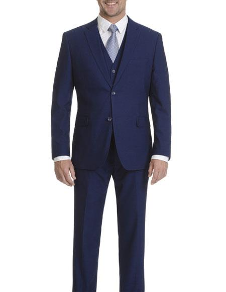 ID#DB22781 2 Button Cobalt Blue Slim Fit Double Vent Caravelli Collezione Suit - Caravelli Suit - Caravelli Italy