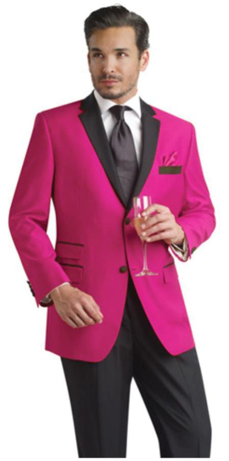 def0e96b9db ID FHY99 fuchsia ~ hot Pink Two Button Notch Party Suit   Prom ~ Wedding  Groomsmen Tuxedo   Sportcoat Jacket w  Dark color black Collared Delivery  30 ...