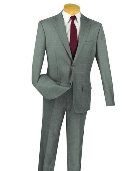 Gray Wedding / Prom 100% Wool 2 Button Window Pane ~ Plaid Inexpensive ~ Cheap ~ Discount Extra Slim Fit Suit