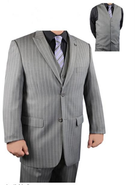 Two Button Grey Pinstripe Suit