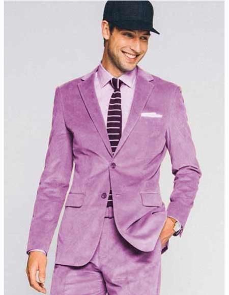 Lavender Velvet 2 Button Slim Fit Notch Lapel CORDUROY SUIT (Coat + Slacks)