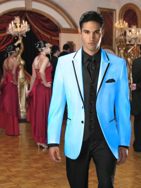 Light Blue with Dark color black Trim Tuxedo | Formal Suit f