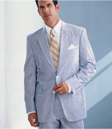 Light Blue Pinstripe Suit For Men Summer Wear Seersucker P