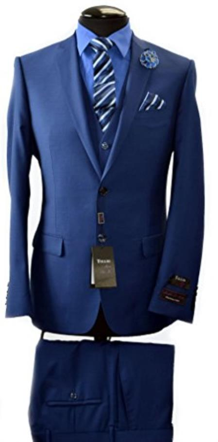 ID#VJ14823 Navy Discounted Online Sale Luxe suits for sale Available 2 Button Italian Slim Fit Vest & Suit