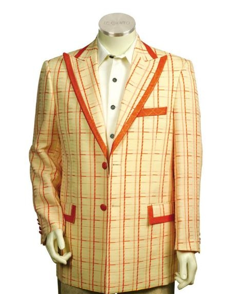 Two Button Trimmed Two Tone Sportcoat Jacket/Suit/Prom ~ Wedding Groomsmen Tuxedo Peach Or