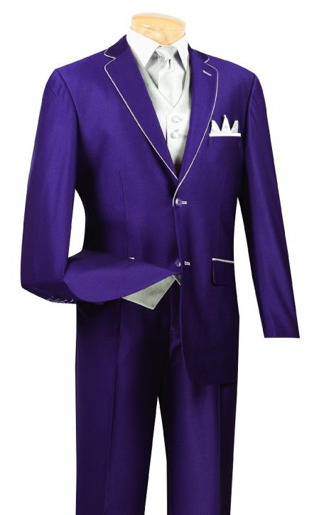 Mens Black and Purple Two toned And White Trim Lapel 3 Piece Suits Vested Two Toned Prom ~ Wedding Groomsmen Tuxedo Suit