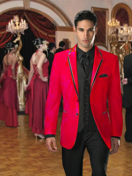 Red pastel color Two buttons edge Trim Tuxedo | Sportcoat Ja