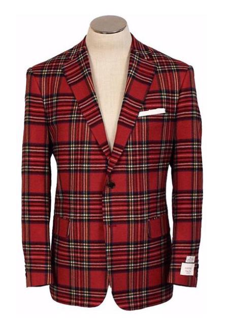 60s 70s Men's Jackets & Sweaters 2 Button Red American USA Made Plaid Hardwick Clothing Manufacturers In America Dress Pants Wool Blend Blazer Sport Coat $593.00 AT vintagedancer.com