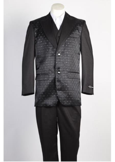 Two Button Shiny Black Suit