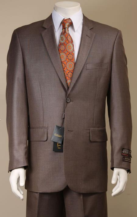 Two Button Shiny Taupe Suit