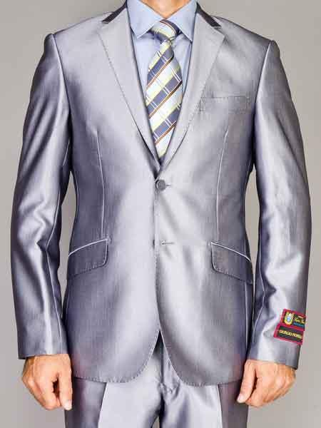 Two Button Silver Color Suit